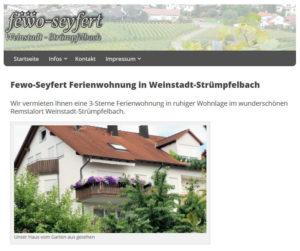 Homepage Ferienwohnung Seyfert Desktopansicht